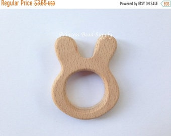 SALE Bunny Natural Wood Teether, Natural Wooden Bunny Teether,  Natural Unfinished Wood Teether, Natural Wooden Teether