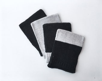 SAN AGUSTÍN facecloth set -- black and grey facecloths, modern washcloths, bath mittens, bathroom decoration, home deco, housewarming gift