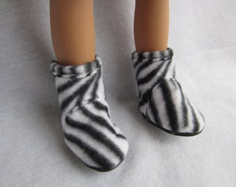 18 in doll boots, fleece boots. Handmade doll shoes, 18 in doll footwear, zebra print boots