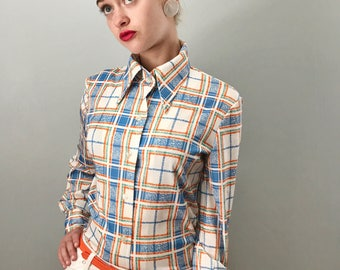 Vintage 70s Plaid Polyester Button Down Top