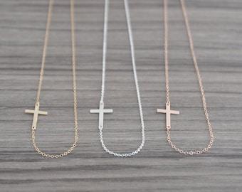 Sideways Cross Necklace - Horizontal Gold Side Cross Necklace - Rose Gold Cross Necklace for Women