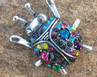 Beetle, Beetle Brooch, Rhinestone Brooch, Rhinestone Brooch, Rhinestone Bug Pin, Insect Jewelry, Bug Brooch, Brooch, Ladybug Brooch