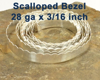 "28ga x 3/16"" Scalloped Bezel - Fine Silver - Choose Your Length"