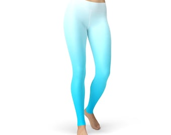 White Blue Ombre Leggings
