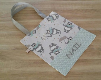 Child tote bag personalized bear, bag of library name.