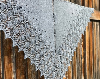 Silver/Gray Lacy Knitted Shawl