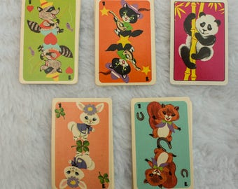 5 Vintage Playing Cards for ATC with from children's game panda, rabbit, squirrel, raccoon and black cat