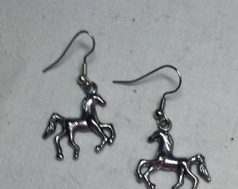 Vintage Silver Horse Pierced Earrings