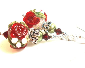 Christmas Earrings | Red & Green Floral Artisan Glass Lampwork Earrings | Sterling Silver | Christmas Women's Gift | Holiday Jewellery