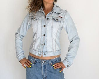 Vintage-verwaschenes blau Denim Jean Jeansjacke! Damen Baumwoll-Jacke, Jeansjacke, Jean Jacke Denim Mantel Jacke stonewashed denim
