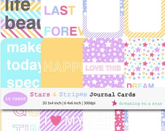 SALE Project Life, Journal Cards, 26 Cards, Happy Project Life, Happy Journal Cards, Life Journal Cards, 3x4, 4x6, INSTANT DOWNLOAD