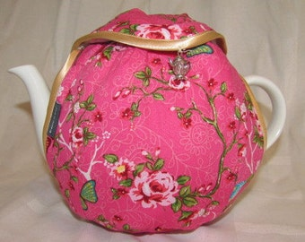 Theemuts Flap S  Pink with roses, butterflies and birds