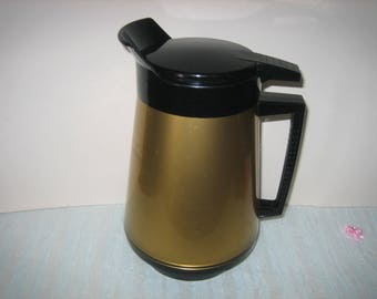 Vintage Thermo Serv Insulated Server/Carafe Gold With Black Top