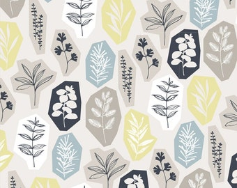 GOTS certified fabric - Organic Cotton Canvas Fabric 2 yards - Cloud 9  - Garden Party - Sow and Sew - black grey yellow blue white