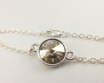 Smoky Crystal Chain Bracelet Sterling Silver Modern Smoky Bracelet Neutral Crystal Swarovski