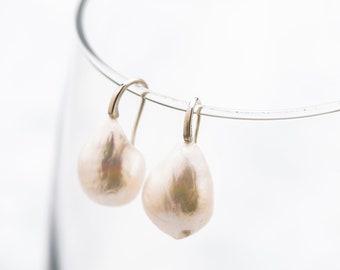 TearDrop Baroque Earrings (Silver Tone Hook)