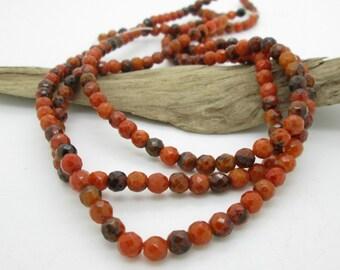 Orange Jasper Faceted Round Bead, 8mm Faceted Stone, Autumn Orange Stone, Orange Stone Bead (25)