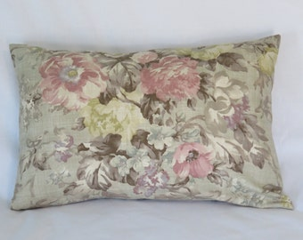 "Romantic Floral Pillow Cover, Watercolor Pink, Aqua, Yellow, Taupe, Purple, Tan, 14 x 20"" rectangle, Cottage Farmhouse Decor Only One"