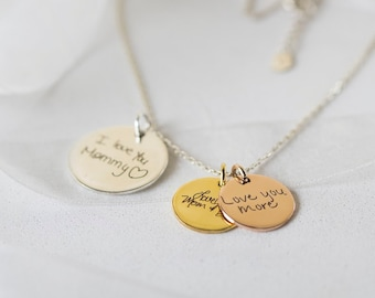 Actual Handwriting Disc Necklace - Signature Disc Necklace - Handwriting Jewelry - Bridesmaid Gift - Christmast Gift