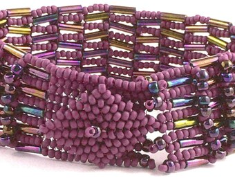 Batonga herringbone basket weave beaded bracelet  tutorial and instructions: Instant Downloadable Pattern PDF File