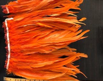 "Long coque feather orange 17-19"""