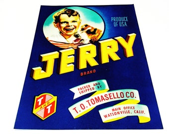 Vintage New Old Stock Unused JERRY Vegetable/Fruit Crate Label