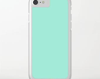 Silicone Custom iPhone Case, Solid Color iPhone 6 Case, iPhone 6 Plus, 6s Case Clear, iPhone 7 Case Mint, Minimalist, Graduation Gift