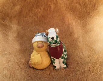 Ceramic Duck and Puppy Figures