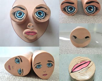 Tutorial - Anime Face Cane, Version 1, polymer clay class, mouth cane, girl cane, eye cane, nose cane, millefiori cane, diy pdf, ebook, book