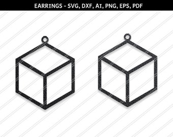 Cube earrings svg,Box earrings,Jewelry svg,leather jewelry,Cricut silhouette,Earrings vector,Diamond earring,svg,dxf,ai,eps,png,pdf