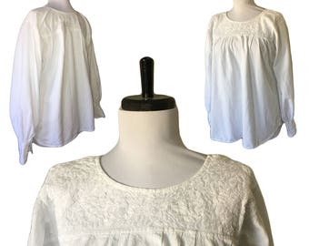 Vintage Embroidered Cotton Peasant Top — Small