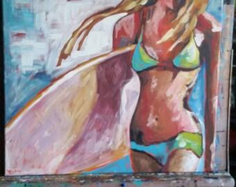 Surf. Beach. Ocean. Sea. Painting. Socal. Sobe . Bohemian
