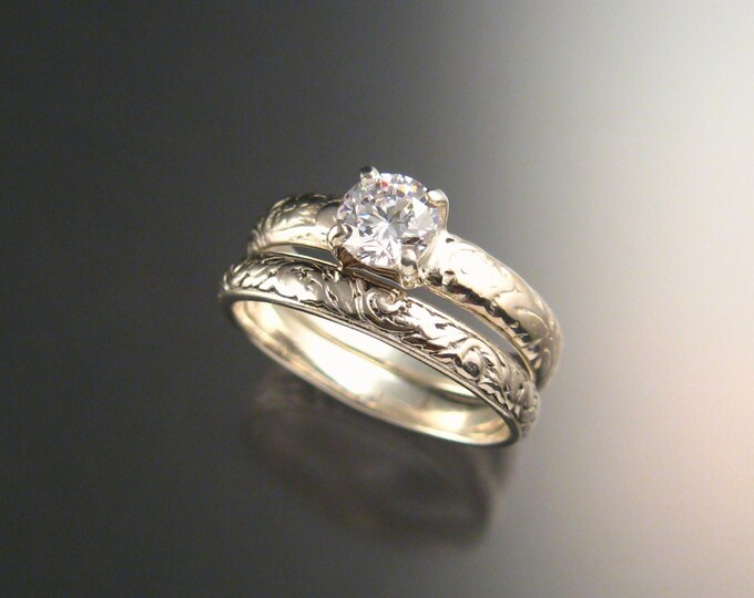 White Zircon Wedding set in 14K White Gold Diamond substitute ring made to order in your size