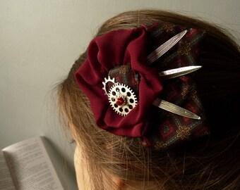 Fleur Tiffany Burgundy steampunk COG gear propeller hair hair clip