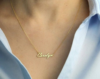 14k Solid Gold-Tiny Name Necklace-Name Necklace-Personalized Necklace-Necklace-Jewelry-Gift-Bridesmaid Gift-Gold Name Necklace-Name Jewelry