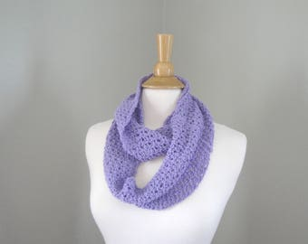 Long Infinity Loop Scarf, Lavender Purple, Hand Knit Cotton Blend, Loose Lacy Airy, Chic Cute Womens Scarf, Teen Girls