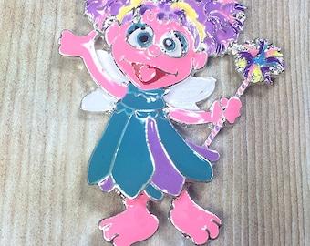 Abby Enamel Pendant, 47x38mm, Sesame Street Pendant, Muppet, Cartoon, Character Pendant, Chunky Bead Necklace, Chunky Necklace, DIY Necklace