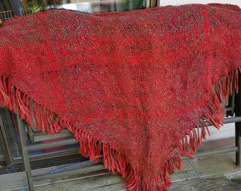 Poppy flower red handwoven triangle shawl