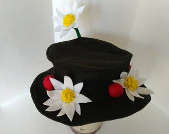 Handmade Marry Poppins inspirered Hat with Flowers and Cherries- photo prop/ Halloween costume/Disney trip