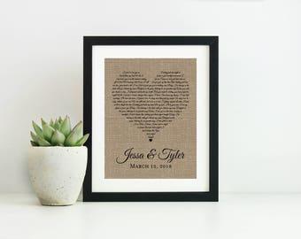 Wedding Gift for Couple-Wedding Song Lyric Art-Anniversary Gift for Men-Engagement Gift for Best Friend-First Dance Lyrics-Custom Song Lyric