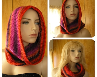 "Knit Romance hooded cowl, cowl, infinity scarf,  hood, pixie hood, hand knit in blended shades it is 25"" around and 18"" long"