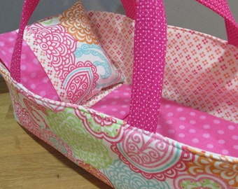 Doll Carrier, Colorful Zinnia and Paisley Fabric with Pink and White Floral Lining, 14 Inches Long, Baby Doll Basket