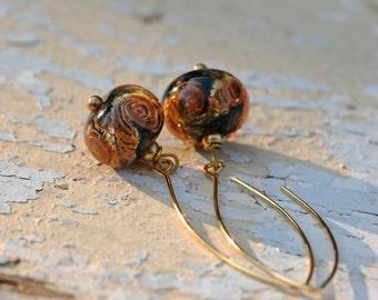 Lampwork earrings, Glass Earrings, artisan lampwork bead 3D, Earrings Lampwork Aquarium,orange, long earrings, brass with gold plating,