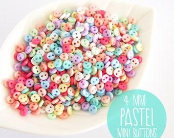 NEW 4mm Micro Mini Pastel Buttons - 100pcs