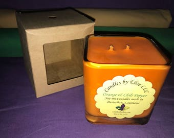 12 oz Orange & Chili Pepper soy wax candle in square jar