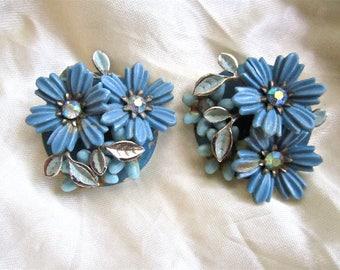 50s 60s Coro Blue Rhinestone Floral Flower Clip On Earrings by Coro