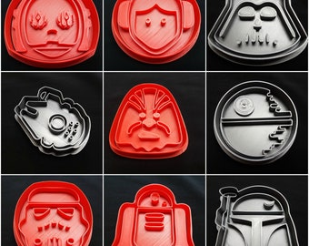Star Wars 9 Piece Cookie Cutter Set: Chewy, Deathstar, C3PO, R2D2, Storm Trooper, Vader, Boba Fett, Princess Leia, Millennium Falcon