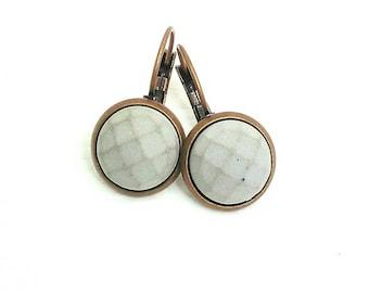 Concrete earrings faceted-color choice-Antique copper-platinum-colour-gift-