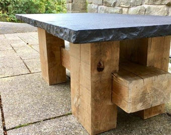 Bespoke Black Limestone and Oak Garden/Coffee Table