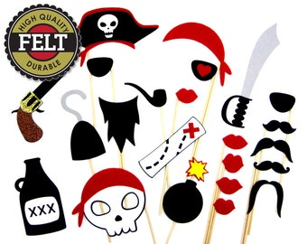 Pirate Photo Booth Props - Made of FELT - Pirate Photo Props - Birthday